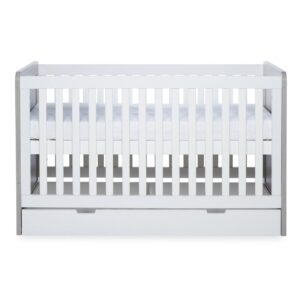 Ickle Bubba Pembrey Cot Bed, Under Drawer and Changing Unit - Ash Grey & White 8