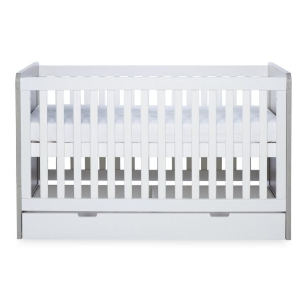 Ickle Bubba Pembrey Cot Bed, Under Drawer and Changing Unit - Ash Grey & White 1