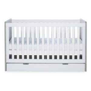 Ickle Bubba Pembrey Cot Bed, Under Drawer and Changing Unit - Ash Grey & White 9