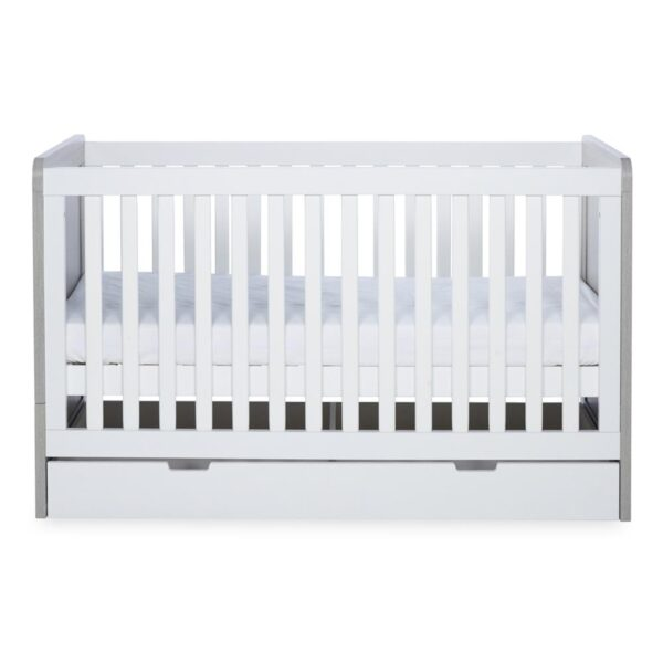 Ickle Bubba Pembrey Cot Bed, Under Drawer and Changing Unit - Ash Grey & White 2