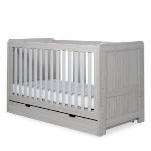 Ickle Bubba Pembrey Cot Bed, Under Drawer and Changing Unit - Ash Grey 10