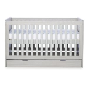 Ickle Bubba Pembrey Cot Bed, Under Drawer and Changing Unit - Ash Grey 6