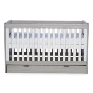 Ickle Bubba Pembrey Cot bed, Under Drawer & Tall Chest - Ash Grey & White Trend 9