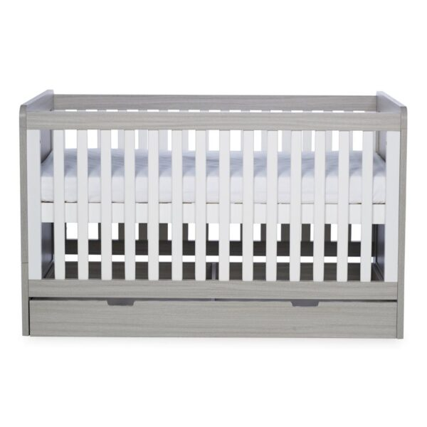 Ickle Bubba Pembrey Cot bed, Under Drawer & Tall Chest - Ash Grey & White Trend 3