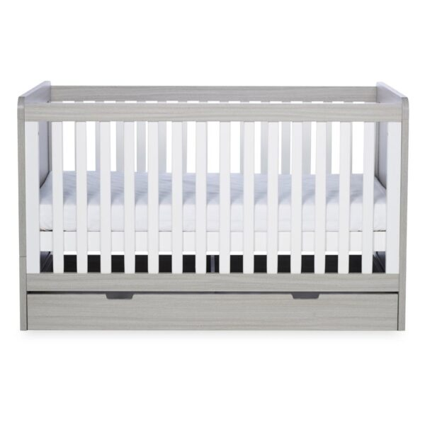 Ickle Bubba Pembrey Cot bed, Under Drawer & Tall Chest - Ash Grey & White Trend 2