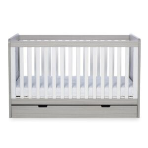 Ickle Bubba Pembrey Cot bed, Under Drawer & Tall Chest - Ash Grey & White Trend 7