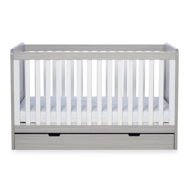 Ickle Bubba Pembrey Cot bed, Under Drawer & Tall Chest - Ash Grey & White Trend 1