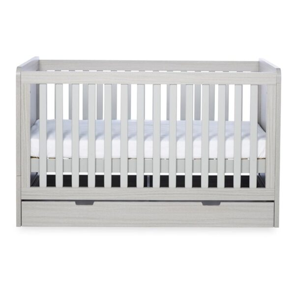 Ickle Bubba Pembrey Cot bed, Under Drawer & Tall Chest - Ash Grey 2
